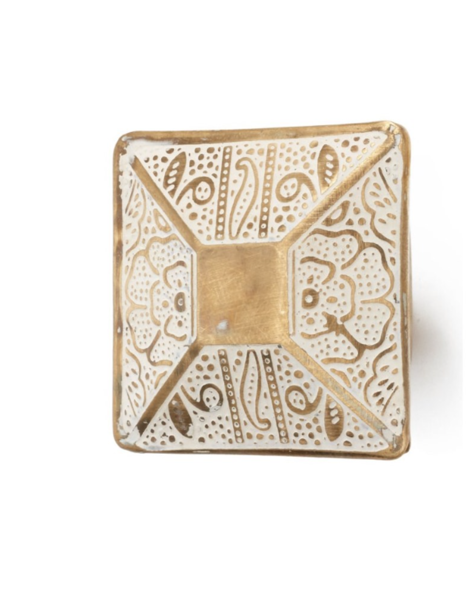 Brass Etched Floral Square Knob