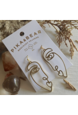 Picasso Abstract Brass Face Earrings