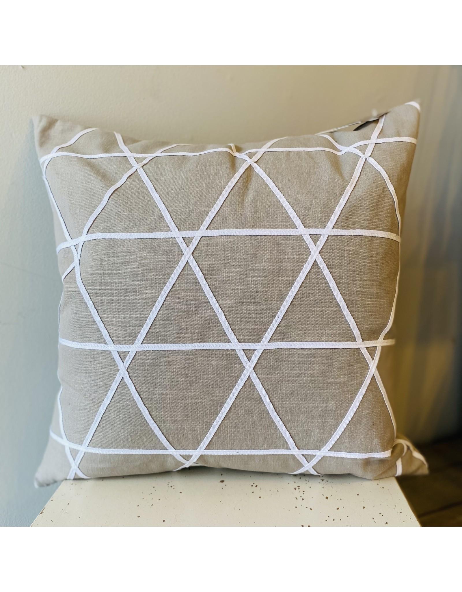 Taupe w White Lattice Cushion 20x20