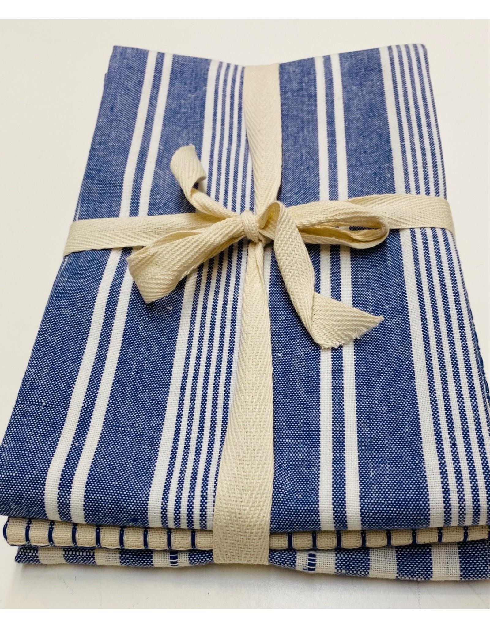 Cotton Check Tea Towel Set of 3 Blue