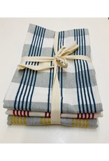 Cotton Check Tea Towel Set of 3 Blue Red Yellow