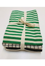 Black /Green Cotton Tea Towels set  of 3