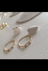Balmoral Rhinestone & Opal Ring- Gold