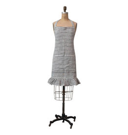 Woven Cotton Striped apron with Ruffle