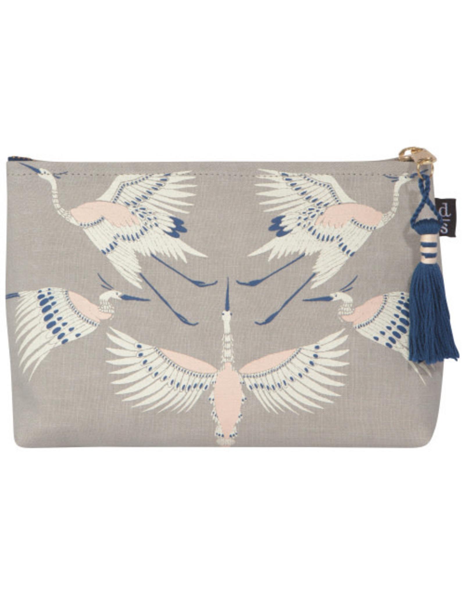 Flight of Fancy Linen Cosmetic Bag Small
