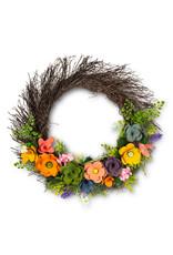 """Rustic Flower Twig Wreath - 16"""""""