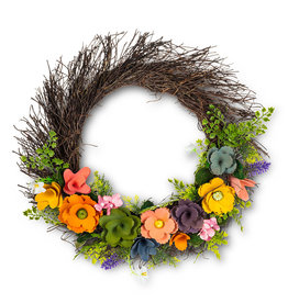Rustic Flower Twig Wreath - 16""