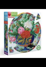 eeBoo Bouquet and Birds 500 Piece Round Puzzle