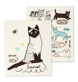 Cats with Names Swedish Dishcloths S/2