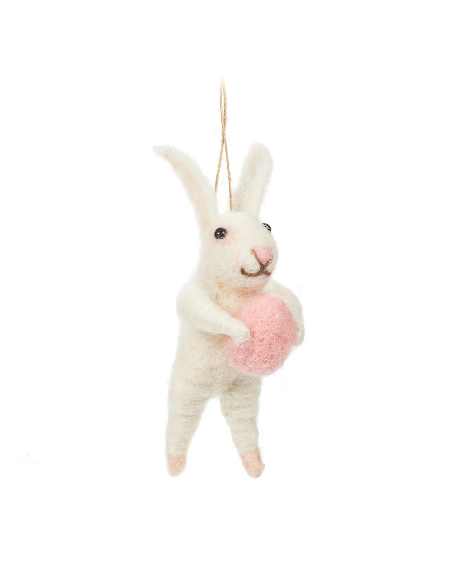 Felt Rabbit with Egg Ornament