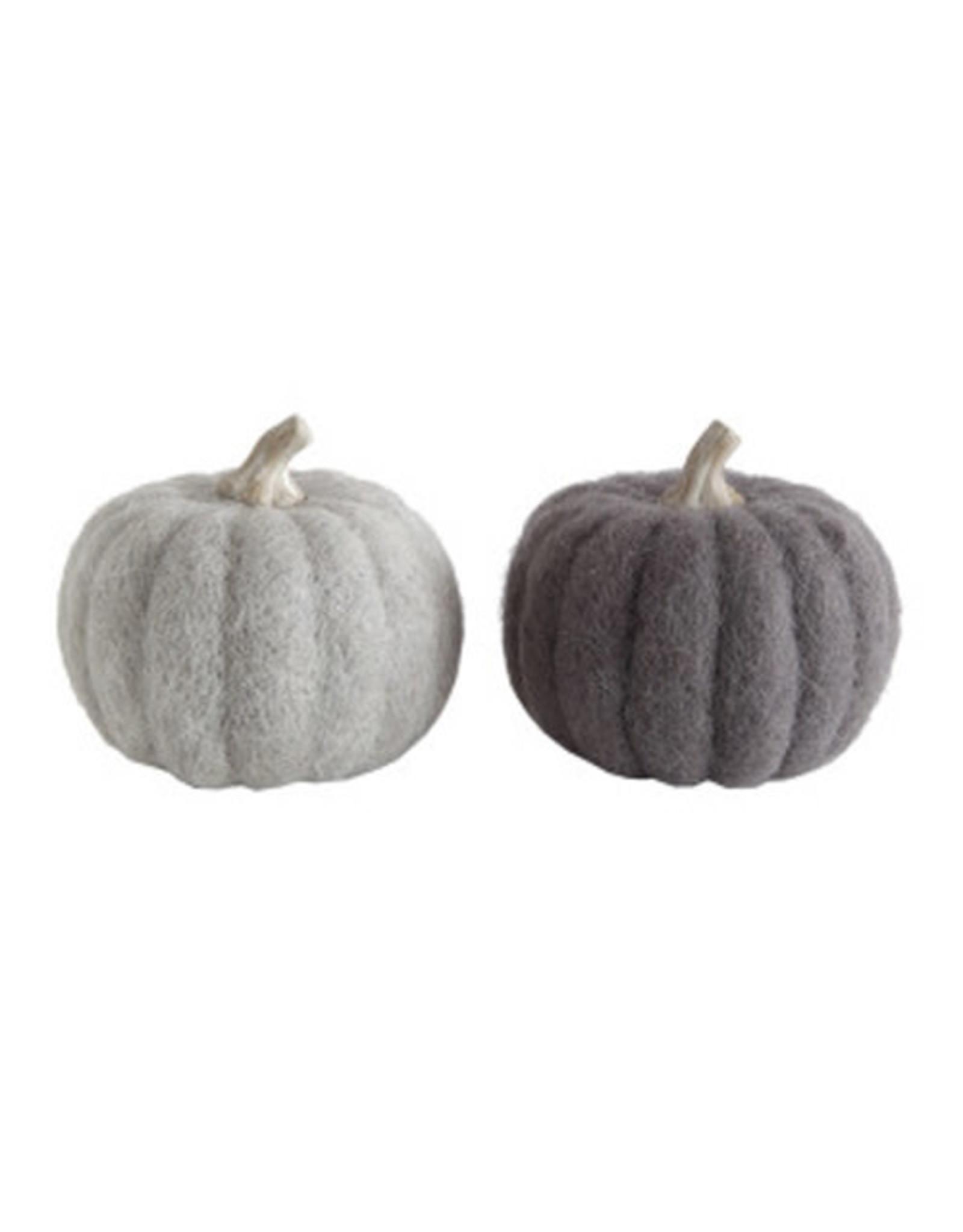 "4 1/4""H Wool Felt Pumpkin with Resin Stem"