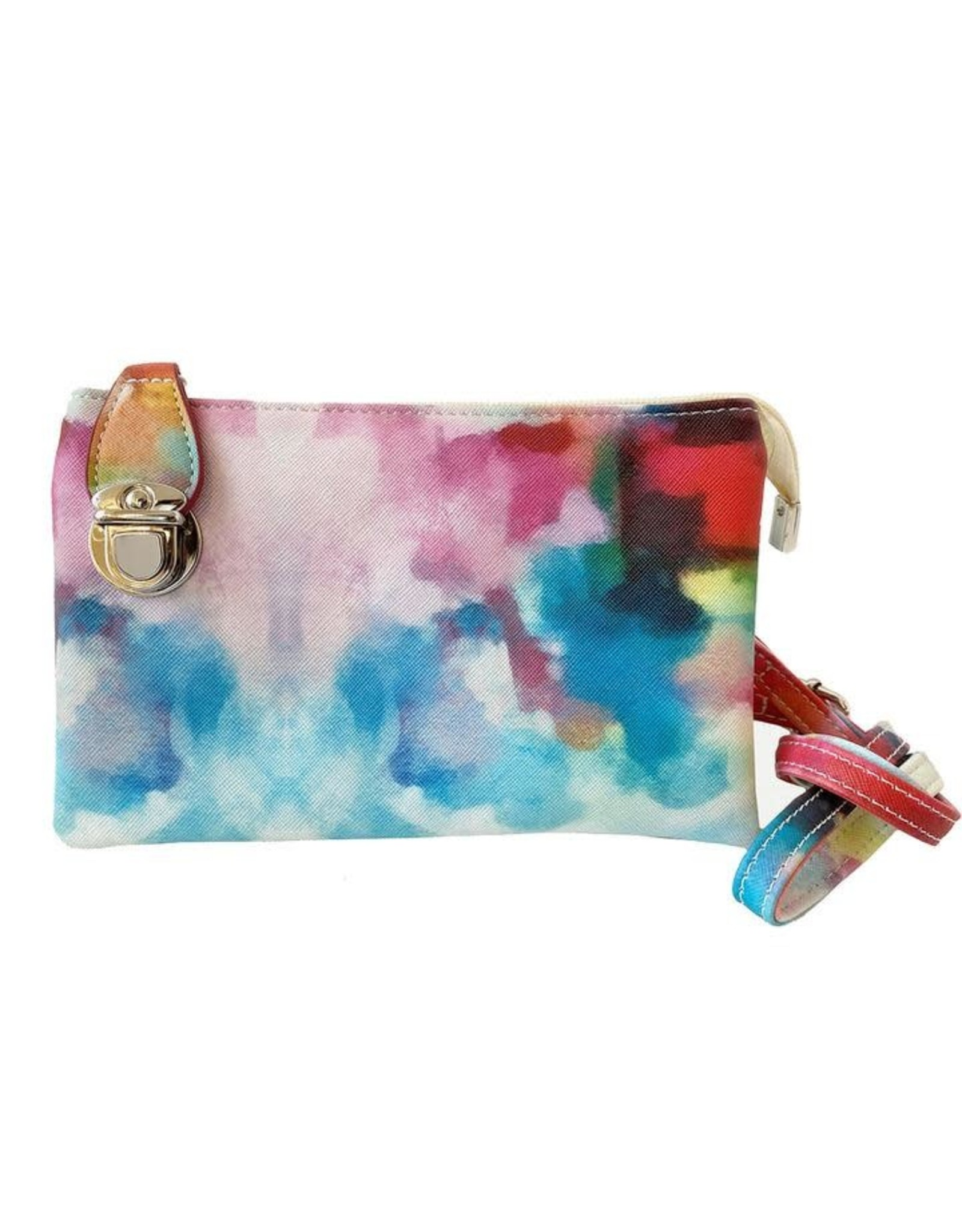 Buckle Clutch with Cross Body Strap - Multi