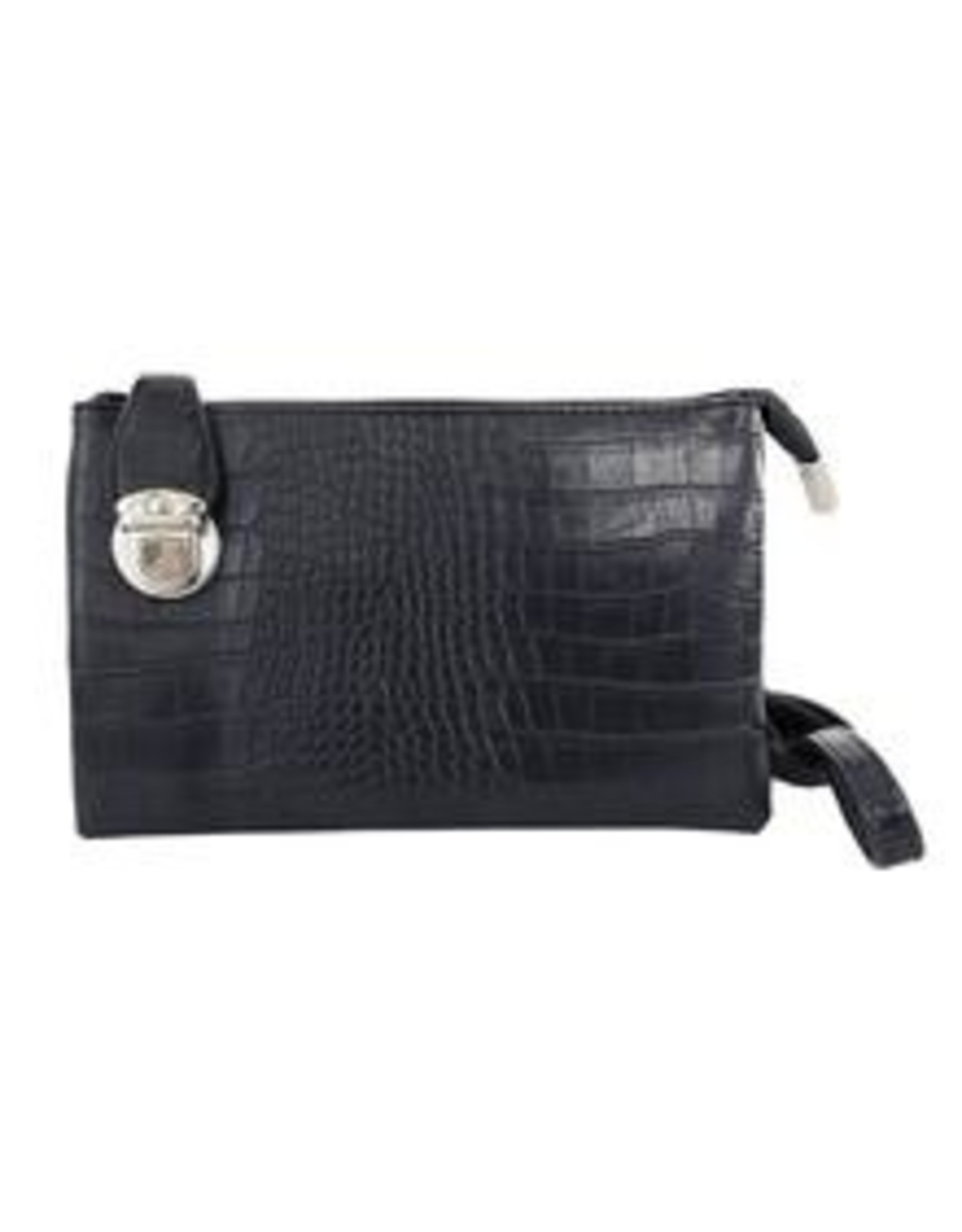 Buckle Clutch with Cross Body Strap - Faux Croc
