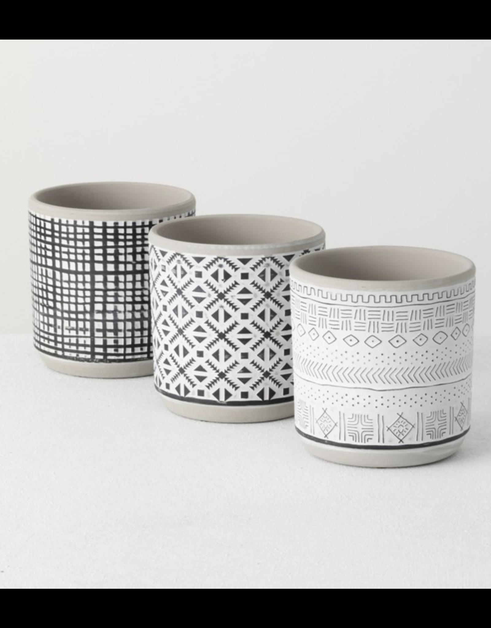 Sullivan's Ceramic Planter Pot with Relief Pattern