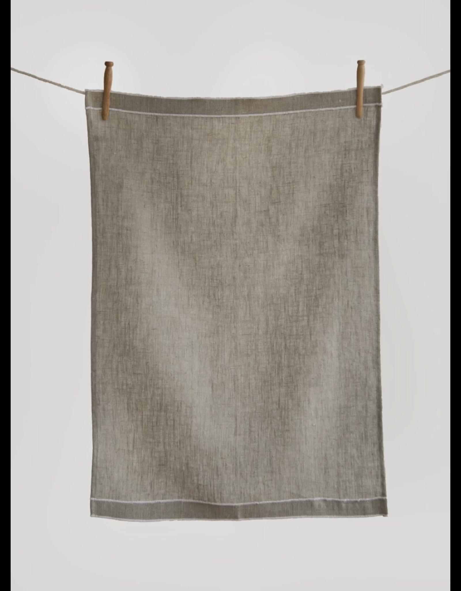 Double Border Linen Tea Towel - Natural/white