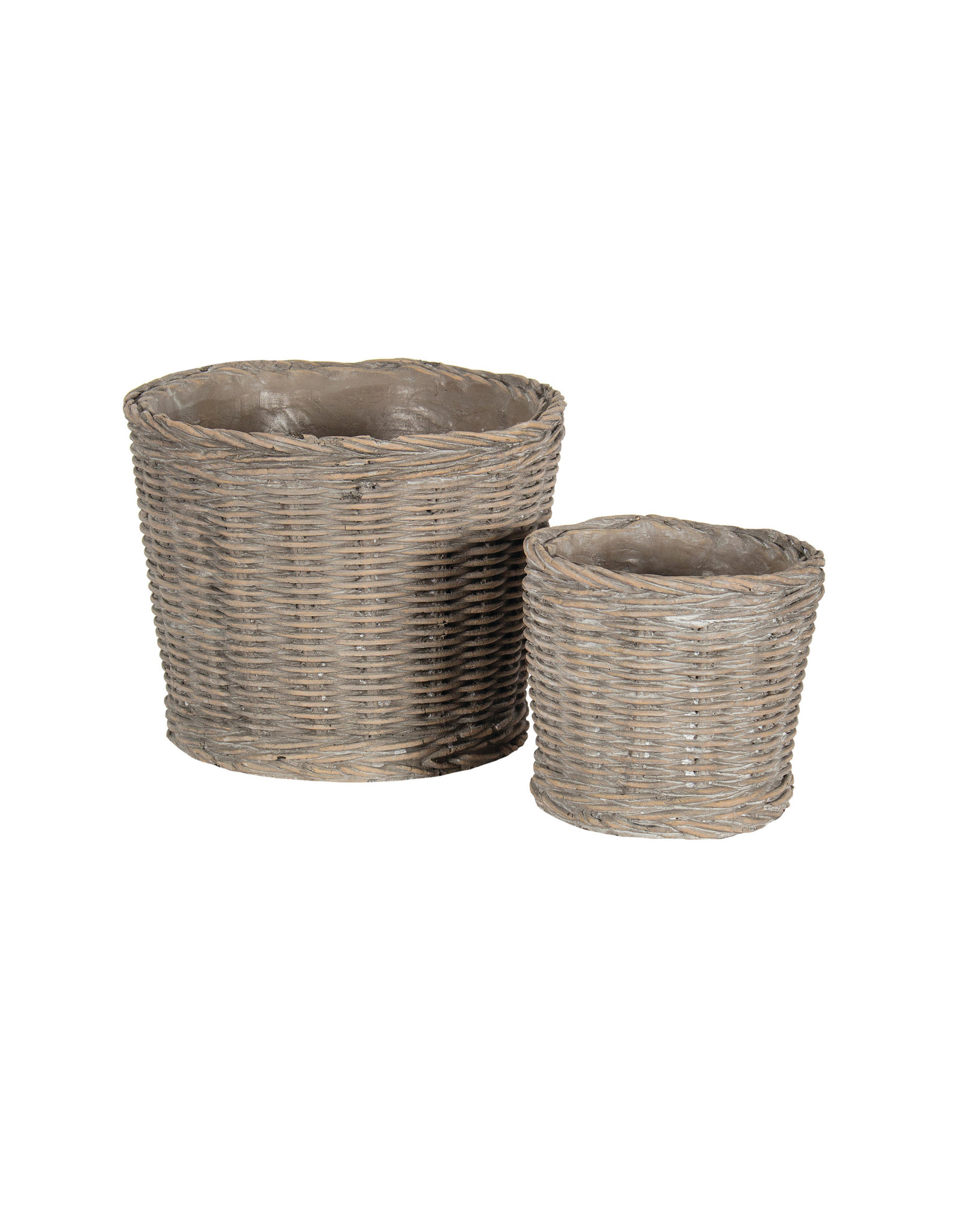 Brown Ceramic Basket Pot - S