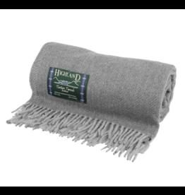 Highland Wool Throw - Herringbone Grey