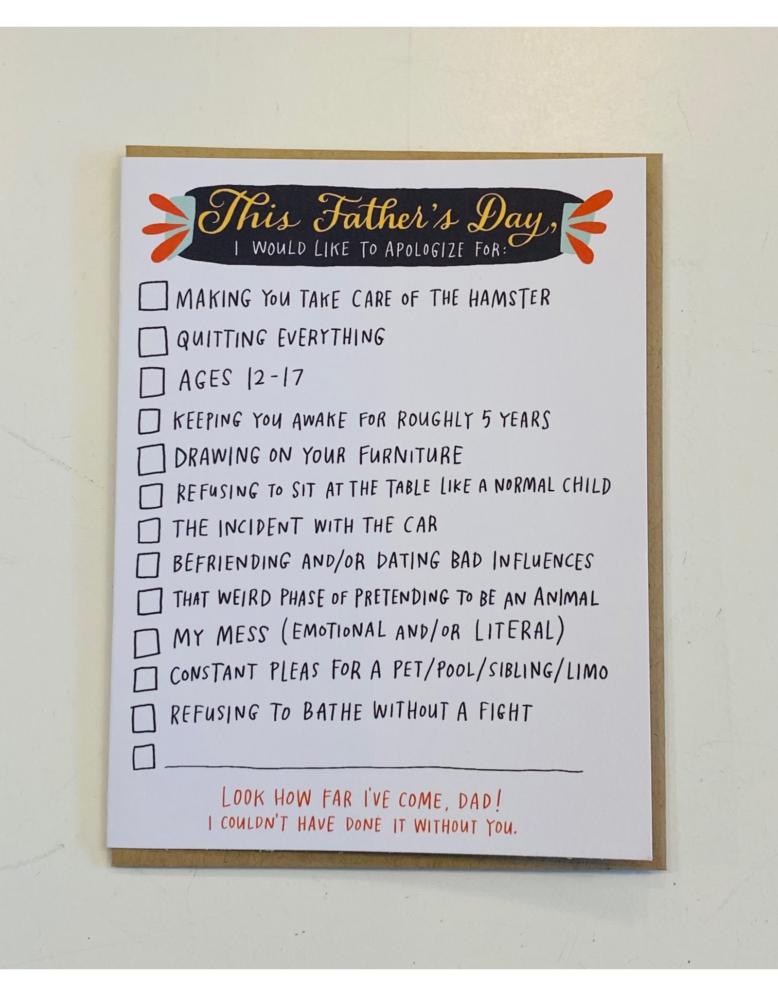 Father's Day - This Fathers Day: I would like to Apologize For
