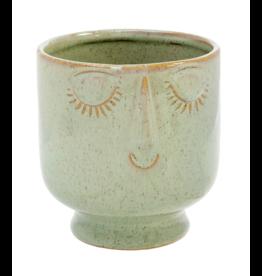 Friendly Face Pot - Lg, Moss
