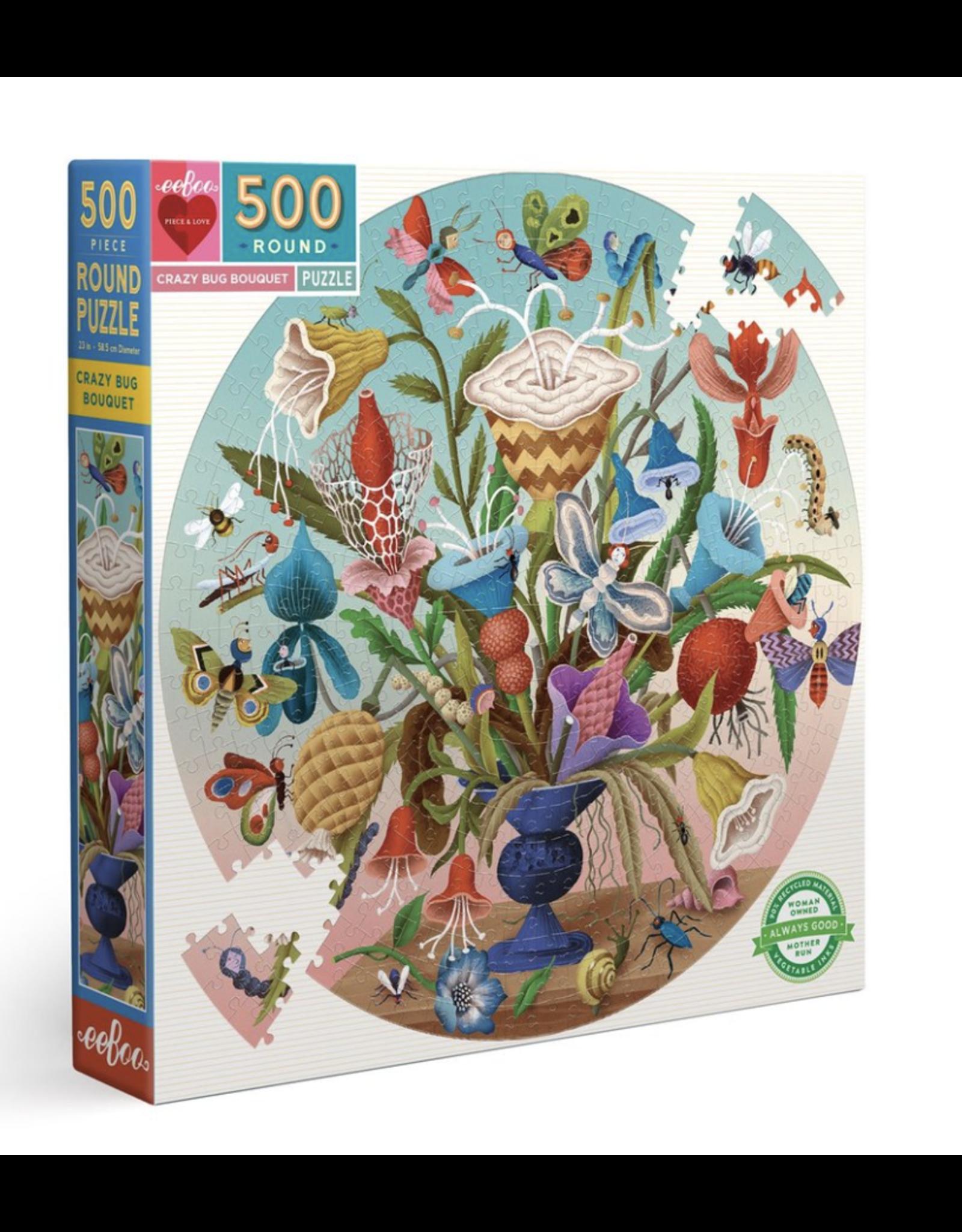 eeBoo Crazy Bug Bouquet 500 Piece Round Puzzle