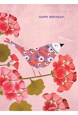 Birthday - Pink Floral Bird