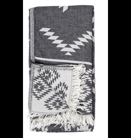 Turkish Towel - Geometric Black - Reversible