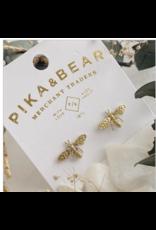 Buzz Raw Brass Bee Stud Earrings