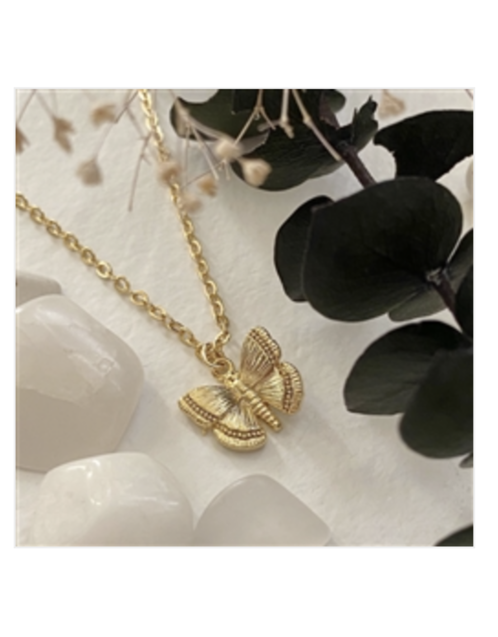 Papillon Butterfly Charm Necklace - Gold