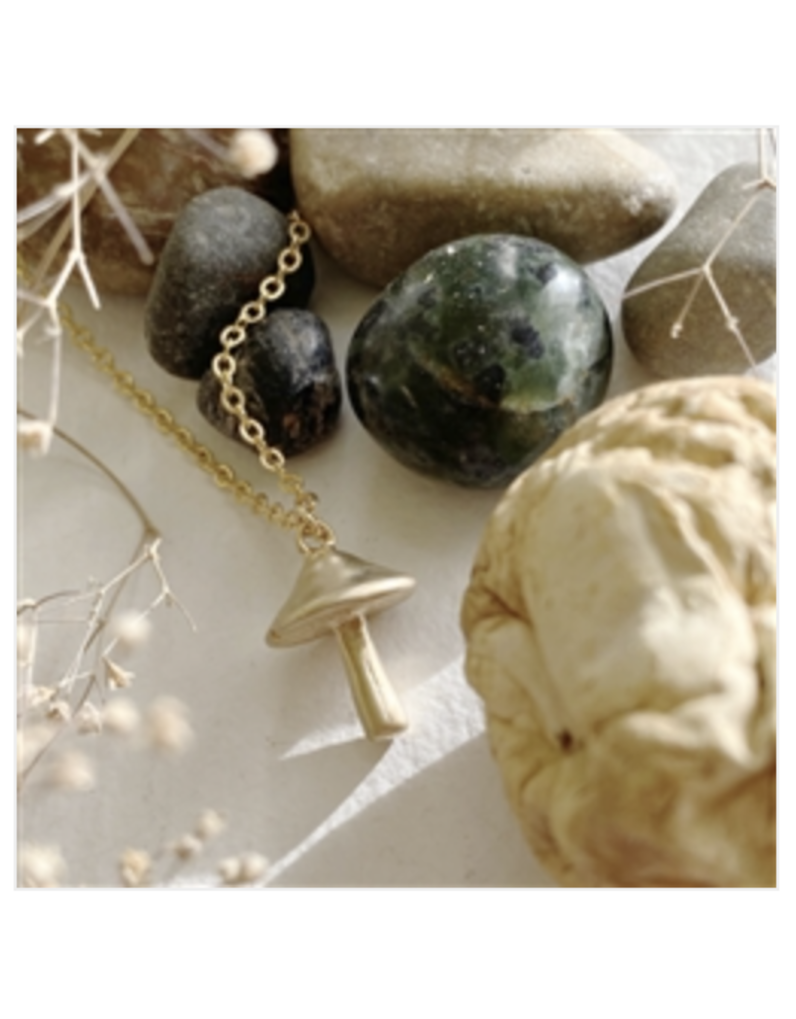 Cubensis Mushroom Charm Necklace - Gold