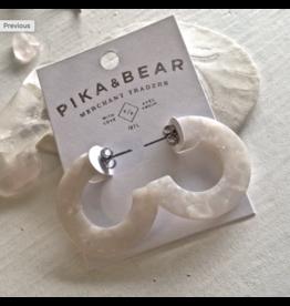 Mod Acetate Hoop Earrings - Crystal White