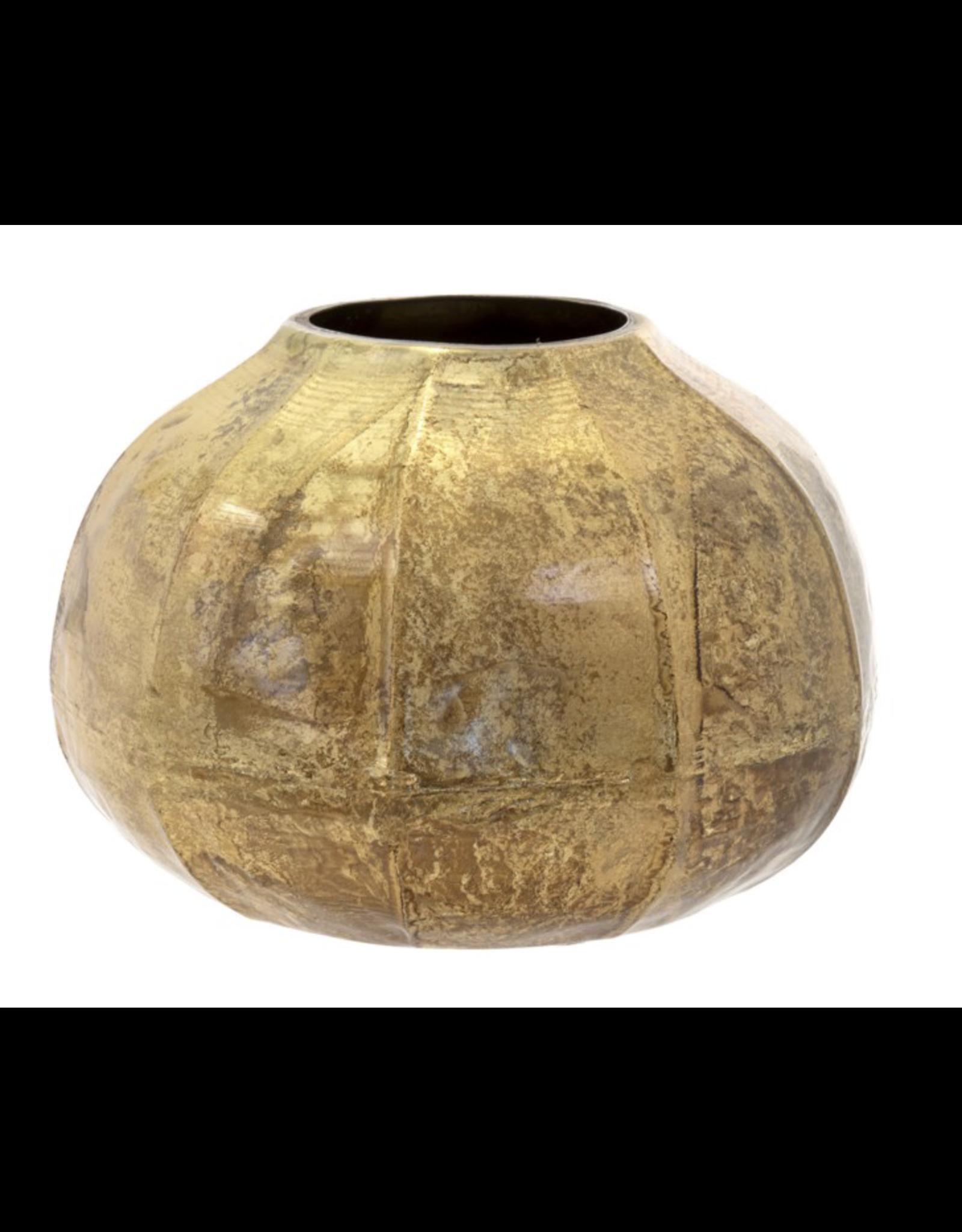 Cobblestone Round Vase - Gold Crackle Lg