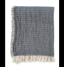 Kantha-Stitch Throw - Grey