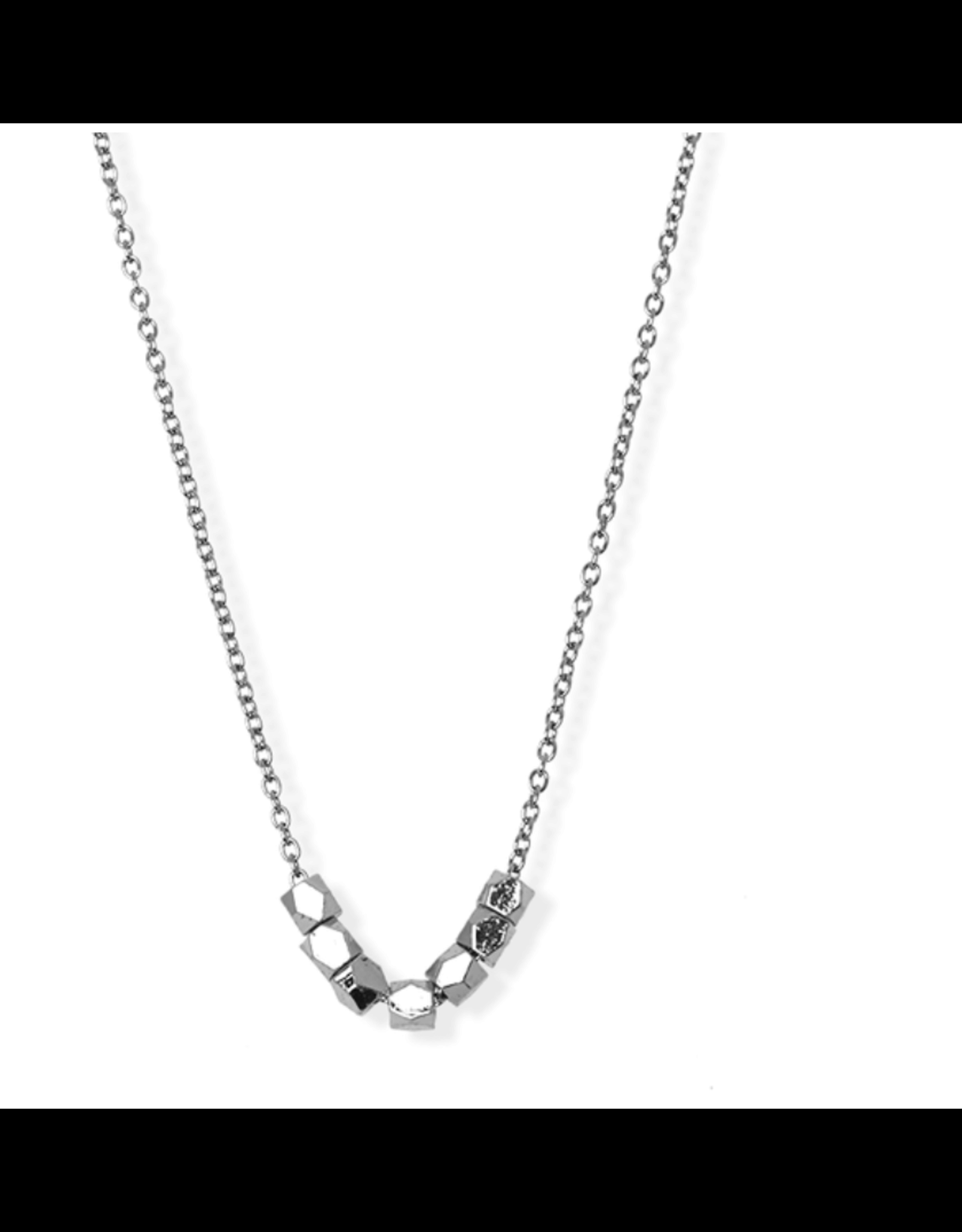 jj + rr Faceted Bead Necklace Silver