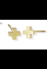 jj + rr Cross Stud Earrings Gold