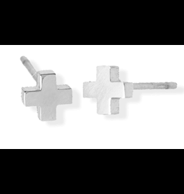 jj + rr Cross Stud Earrings Silver