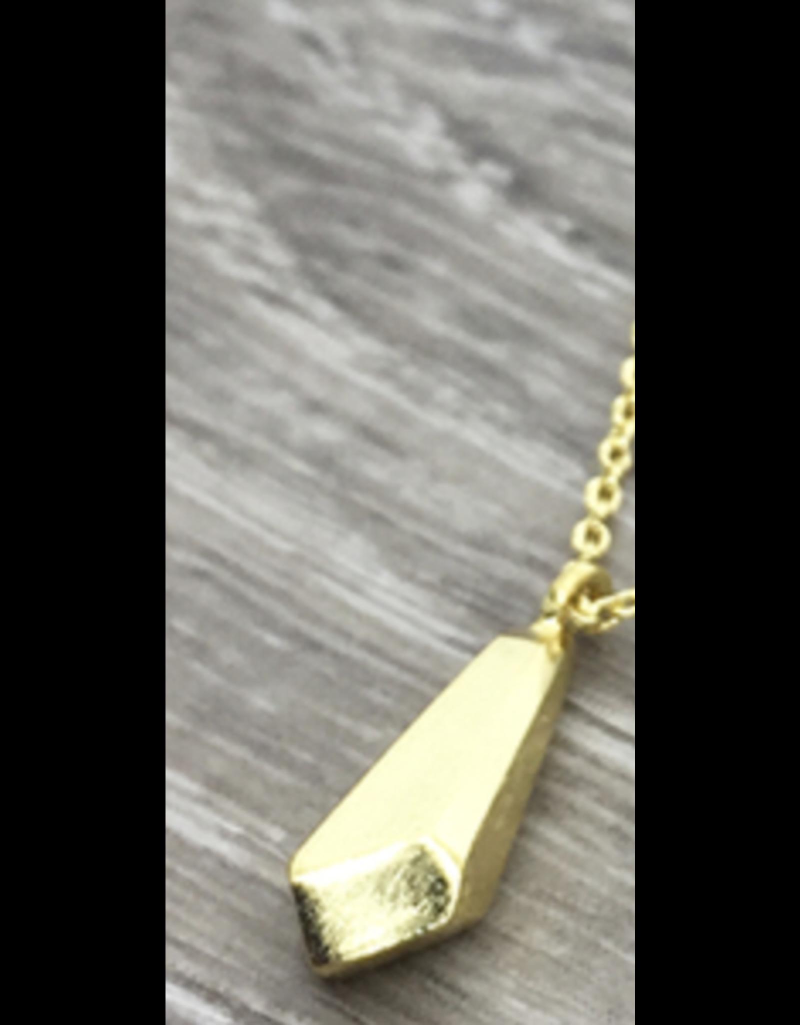 jj + rr Faceted Bead Pendant Necklace Gold