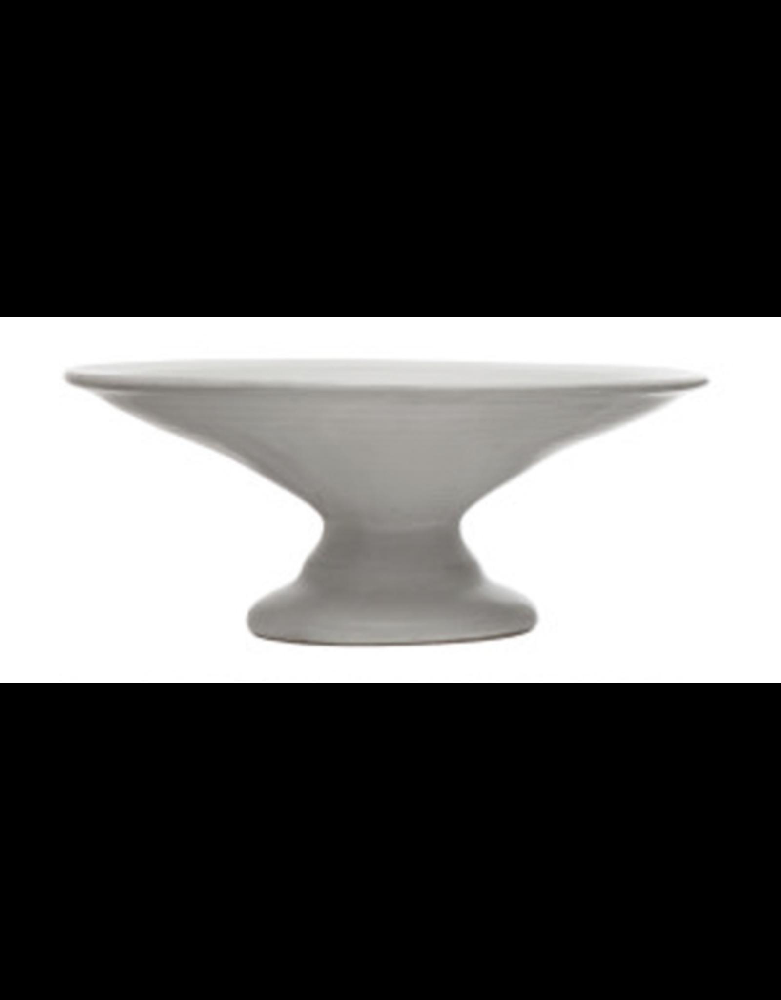 """Stoneware Pedestal 8""""x3"""" - Cream"""