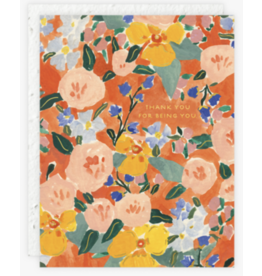 Thank You - Red Orange Floral