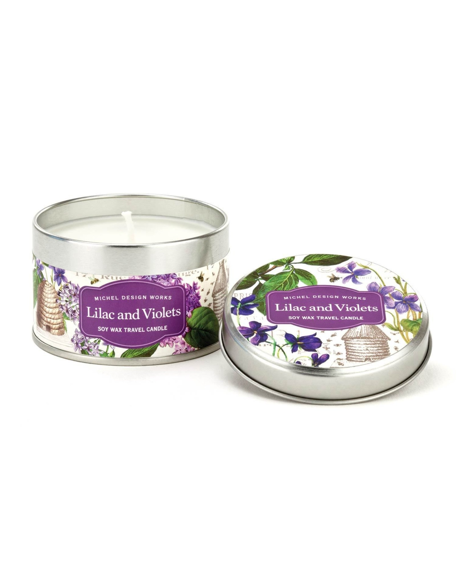 Michel Design Michel Lilac and Violets Travel Candle