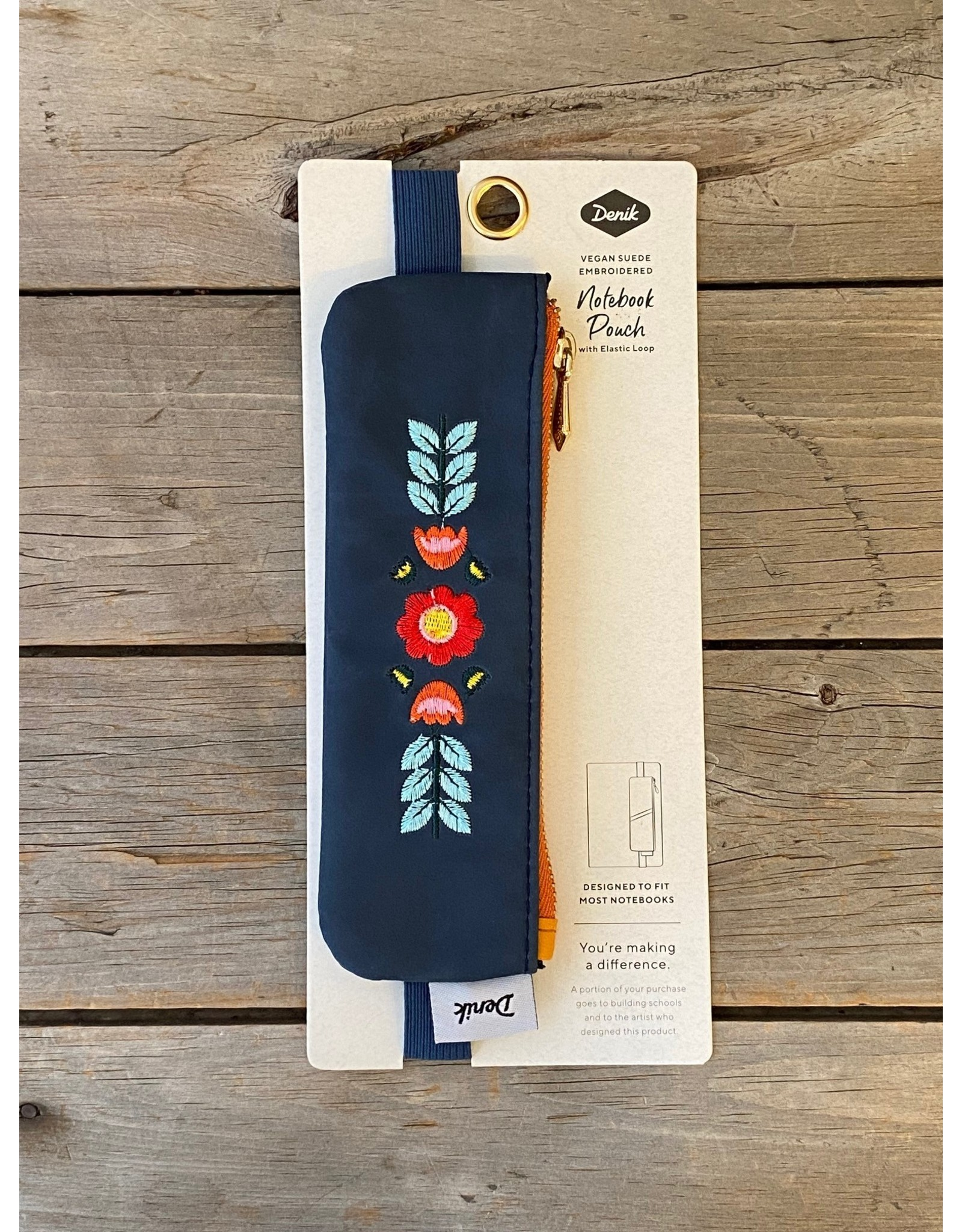 denik Blue Evelyn Embroidered Notebook Pouch