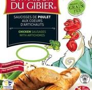 La maison du gibier Saucisses de poulet de grain aux artichauts et ciboulette (4x90g), congelé