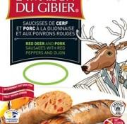 La maison du gibier Saucisses de cerf rouge aux poivrons rouges et moutarde de Dijon (4x90g), congelé