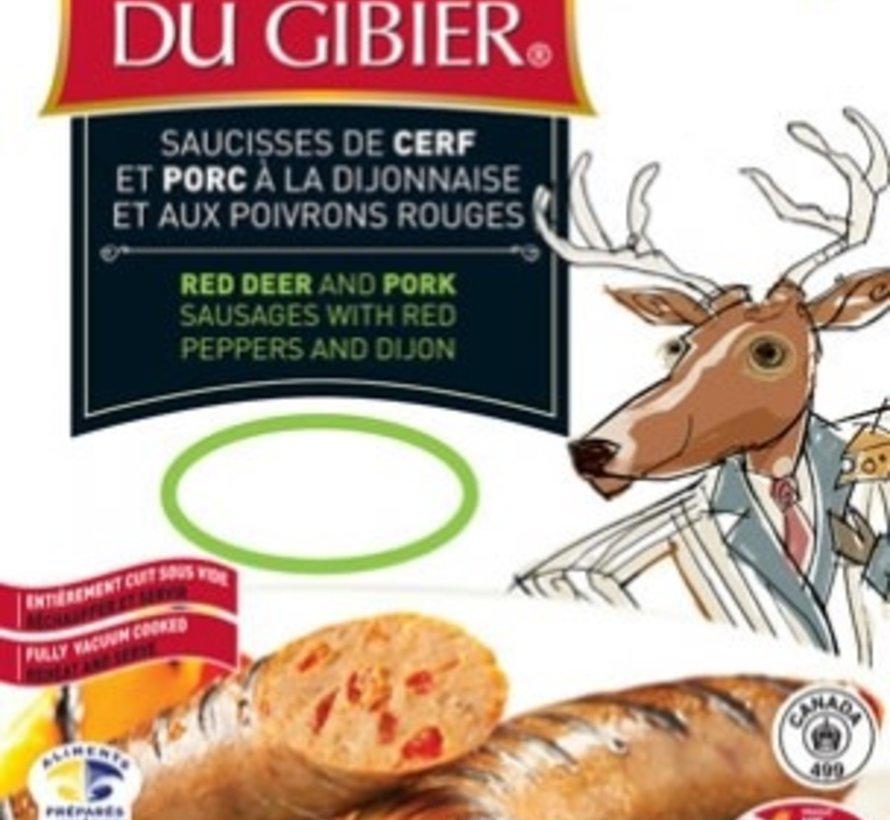 Saucisses de cerf rouge aux poivrons rouges et moutarde de Dijon (4x90g), congelé