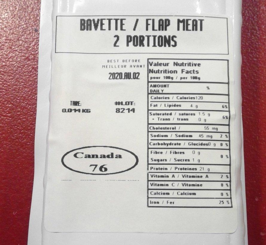 Cheval - bavette, (environ 340g/12oz.), congelé