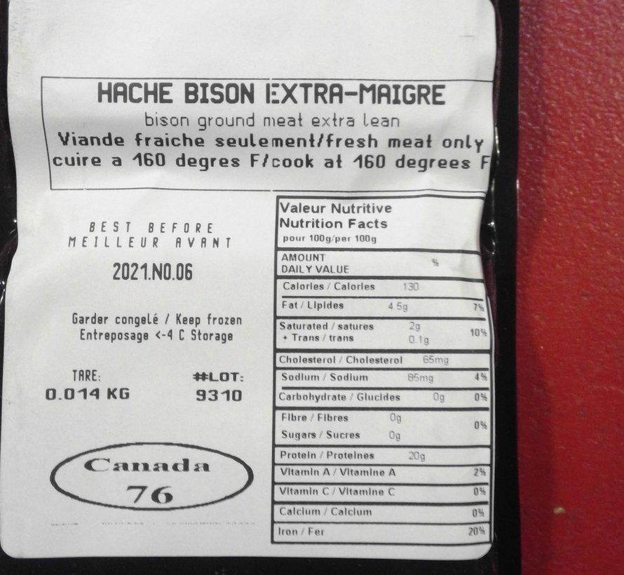 Bison - haché, (environ 240g), congelé