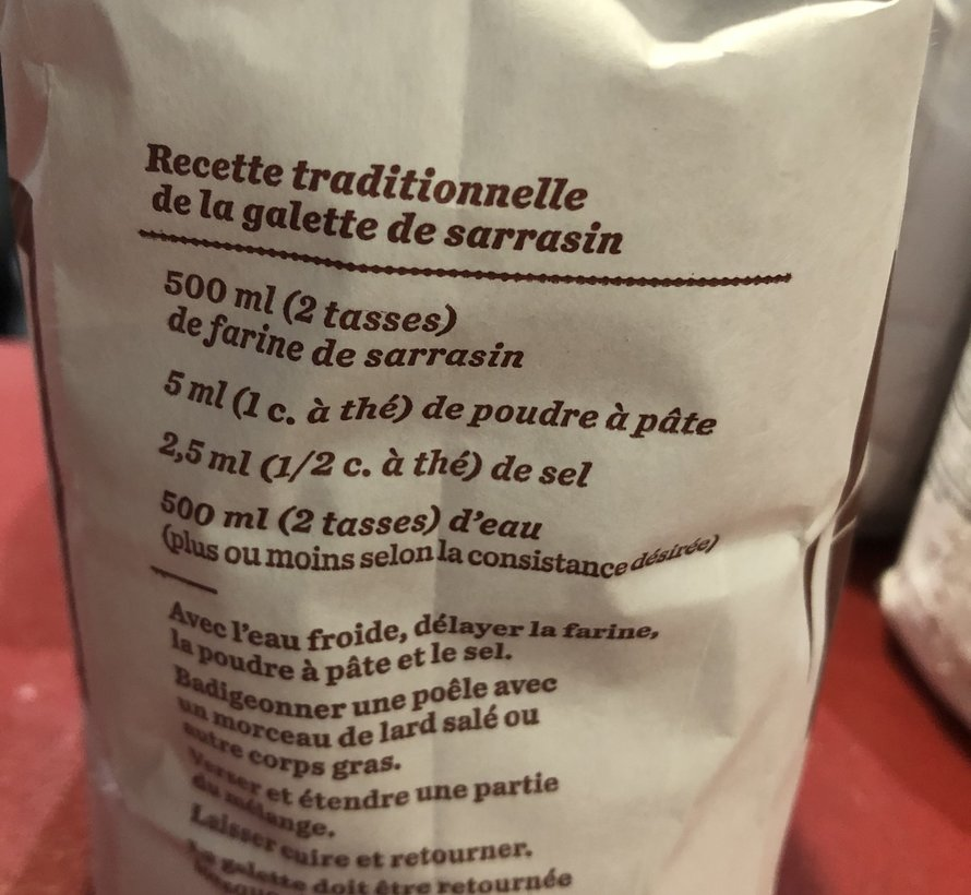 Farine de sarrasin, 1kg, Moulin Légaré