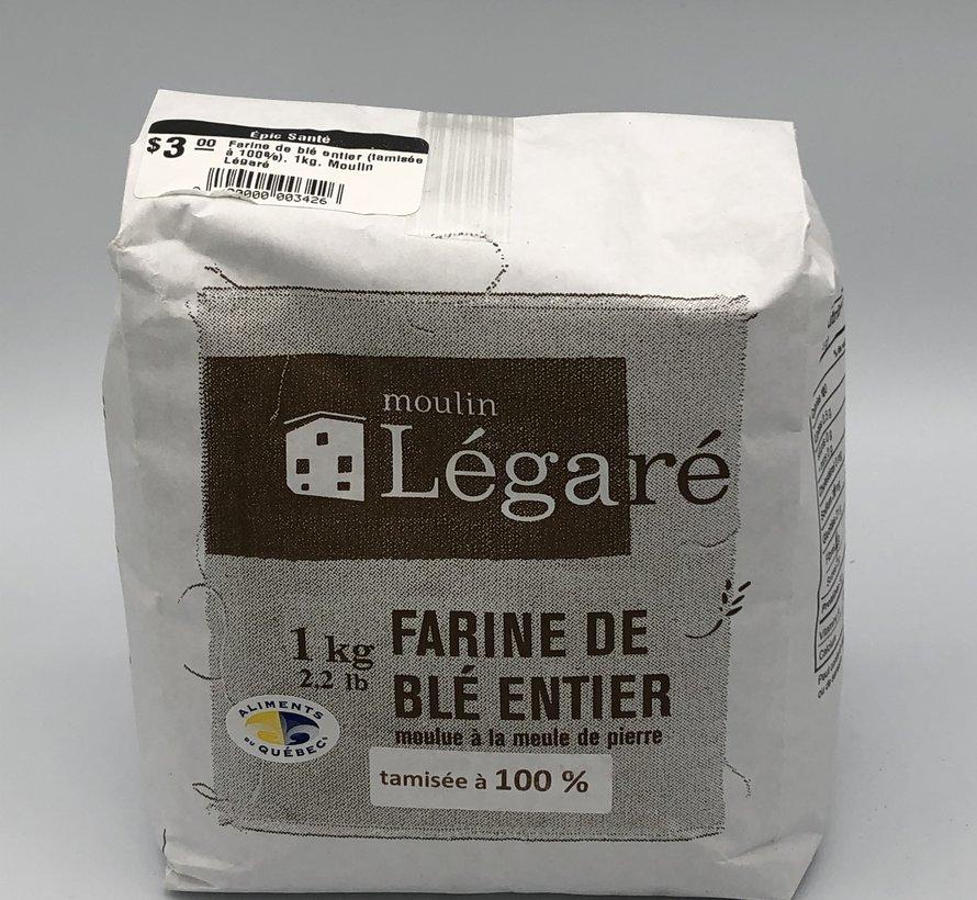 Farine de blé entier (tamisée à 100%), 1kg, Moulin Légaré