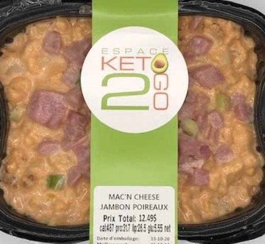 Mac'n cheese jambon poireaux Keto / Cétogène (glu: 5.55)