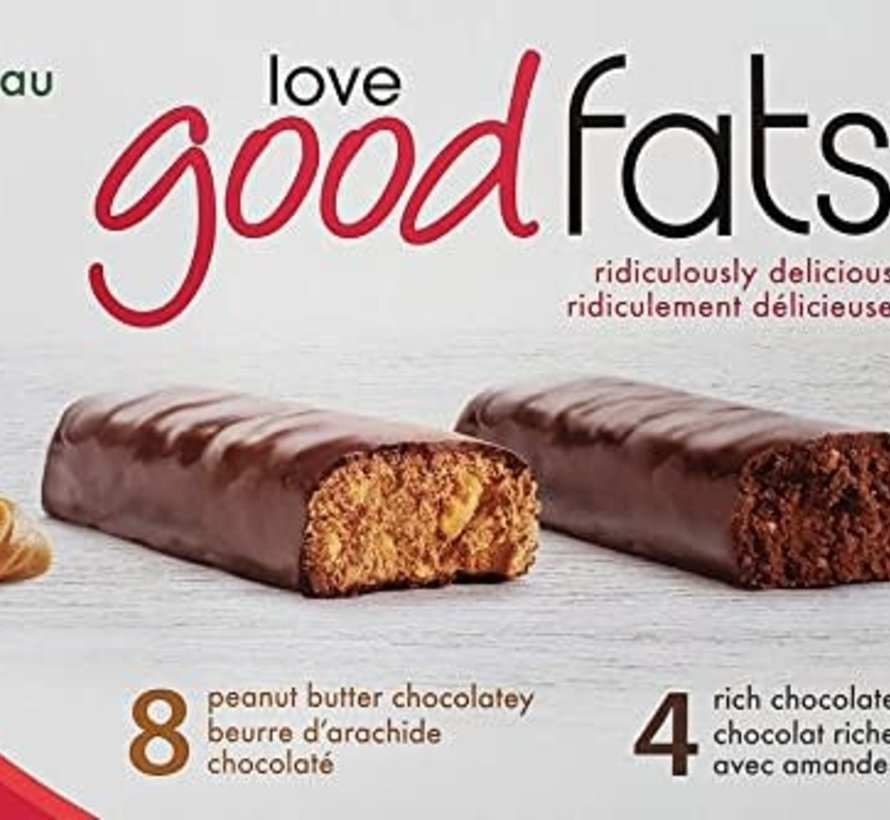 Boîte - 12 barres collation incluant choco amandes (468g - Love good fats)
