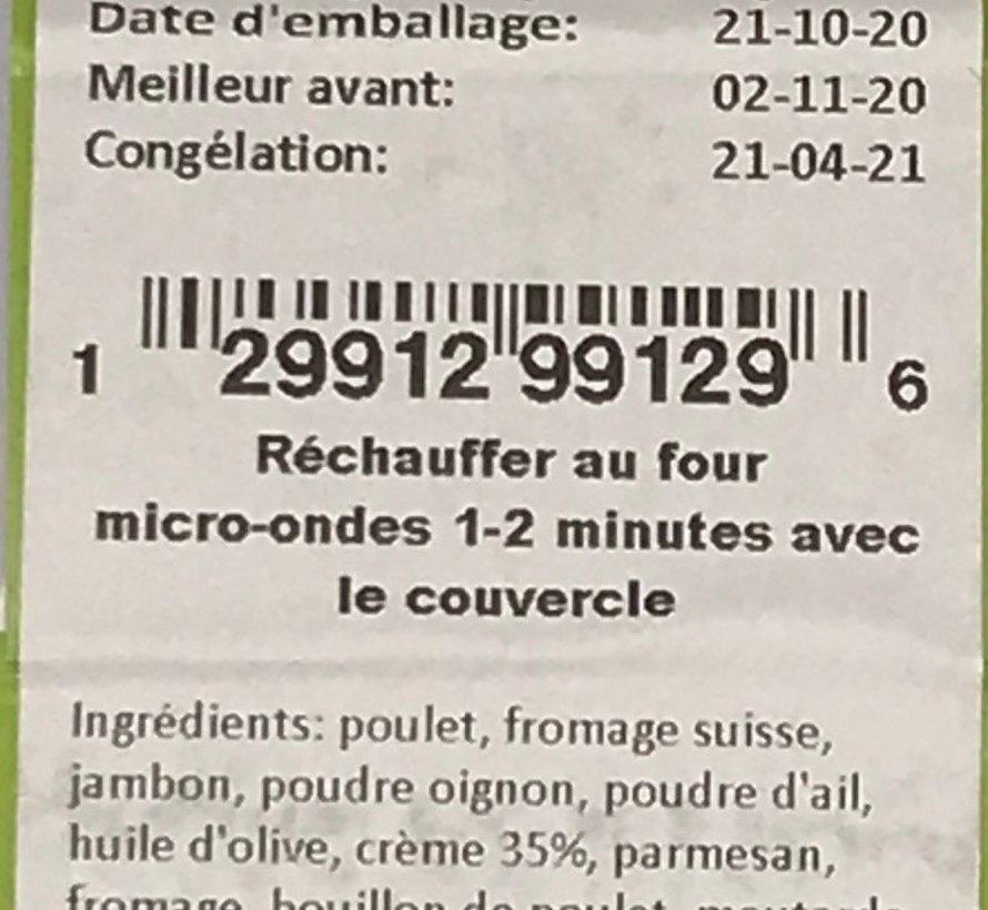 Poulet cordon bleu Keto / cétogène (glu: 11.3)